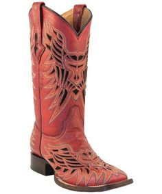 Red Lucchese vintage cowboy boots.