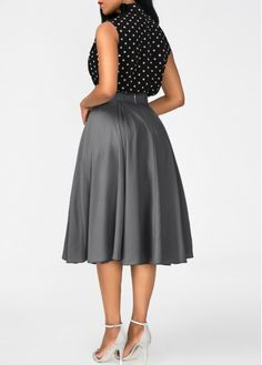 Black High Neck Top and Grey Skirt