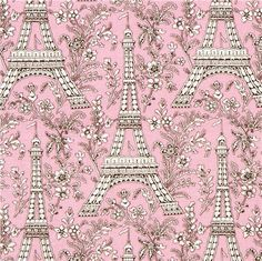 pale pink Michael Miller fabric Eiffel Tower flowers