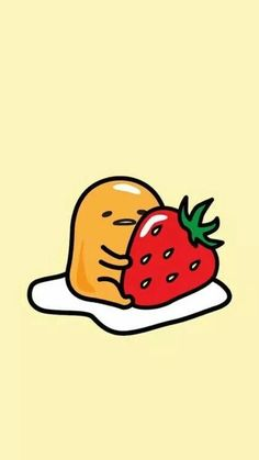 ♡ Pastel soft grunge aesthetic ♡ ☹☻ Gudetama with strawberry wallpaper Kawaii Wallpaper, Cute Wallpaper Backgrounds, Wallpaper Iphone Cute, Cute Cartoon Wallpapers, Kawaii Drawings, Cute Drawings, Book Art, Cute Egg, Creation Art