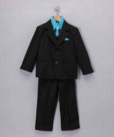 Look at this LA Sun Black & Turquoise Five-Piece Suit - Infant, Toddler & Boys on #zulily today!