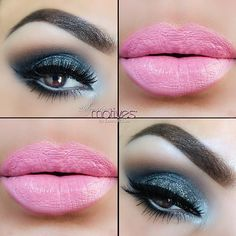 elymarino sparkles and pops with this smoky glitter eye and bubble gum pink lips