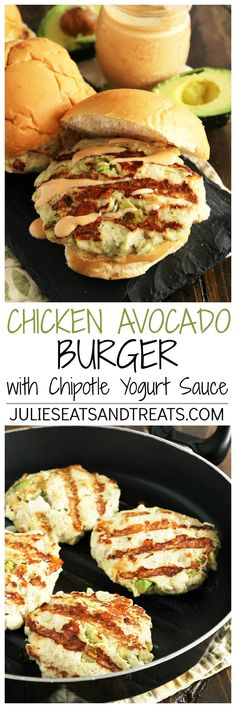 Chicken Avocado Burger with Chipotle Yogurt Sauce ~ Chicken Burger Stuffed with Avocado, Garlic, Feta Cheese and Drizzled with a Delicious Chipotle Yogurt Sauce! ~ http://www.julieseatsandtreats.com