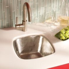Hammered Recycled Copper Bar Prep Sink In Brushed Nickle Finish Native Trails
