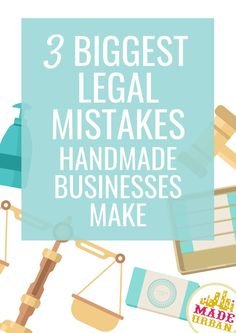 Many small handmade business owners wonder if they need to register their business, obtain a business license or permits, etc. Most handmade businesses start selling their products before they're legally set up. These are 3 legal mistakes many handmade bu Craft Business, Home Based Business, Business Names, Creative Business, Online Business, Business Ideas, Business Help, Handmade Jewelry Business, Small Business License