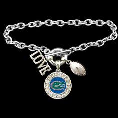 Florida Gators 3 Charm Football Bracelet - Charming Collectables