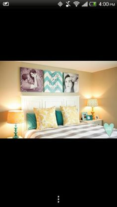 Canvas art--can introduce color, patterns, and personal touches.  Love the mis-matched lamps