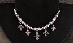 Gray Pearl and Silver Cross Charm Bracelet  by PirateKatsBooty