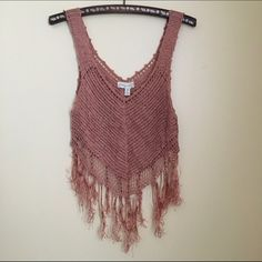 Urban Outfitters coral crochet fringe crop top M Urban Outfitters coral crochet fringe crop top Medium. Amazing condition! No snags Urban Outfitters Tops