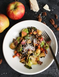 Sweet & Savory Pan Roasted Brussels Sprouts with Pecans, Apples, Sweet…