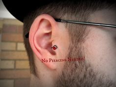 Rowan Men's Tragus Cuff GRIPPY gray wire red crystal by ZyDesigns, $19.99