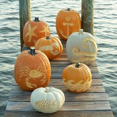 Seaside Inspired - Beach Decor: Coastal Halloween Pumpkins