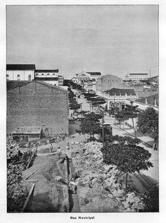 Rua Municipal,  atual avenida Sete de Setembro - Imagem que compõem o acervo do Álbum do Amazonas referente aos anos de 1901 e 1902.