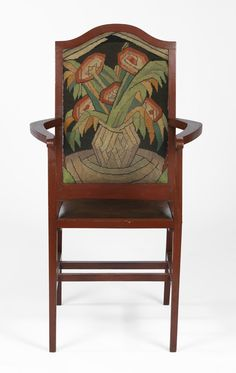 Roger Fry - Chair with embroidered seatback, 1913, legno, lacca, pelle e lana, 105,3 x 54,2 cm. Courtauld Gallery, London