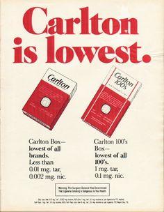 "1980 CARLTON CIGARETTES vintage magazine advertisement ""lowest."" ~ Carlton is lowest. ~"