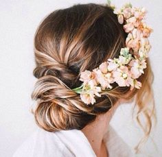 Wedding hair with flower crown