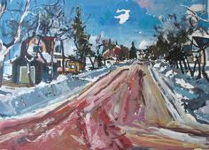 Town Walk Original Larger Landscape Painting on Paper by Paintbox, $250.00
