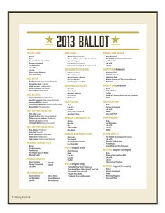 Oscars Printable Ballot. This year's nominees to hand out to friends and prizes or something for whoever guesses right!