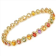 $2,549.00  Spectacular Brand New Bracelet With 17.90ctw Precious Stones - Genuine  Clean Diamonds and Sapphires  14K Yellow Gold. Total item weight 20.6g  Length 8in - Certificate Available.