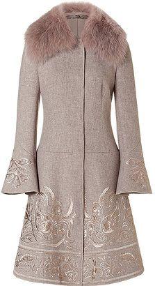 Alberta Ferretti Khaki Embroidered Wool Coat with Fur Collar