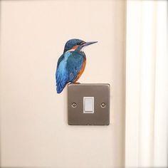 Image of Flash the Kingfisher ~ Wall decal Birds Painting, Wall Artwork, Original Paintings, Mural Art, Wall Drawing, Sticker Wall Art, Art, Wall Painting, Bird Art