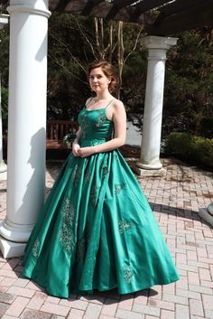 440f9e85a944 Dark Green Satin Custom-made Ball Gown with Spaghetti Straps and Lace  Appliques