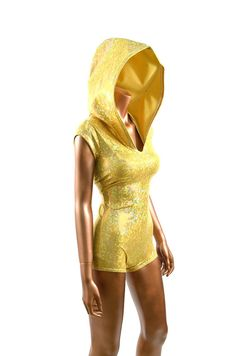 Gold Metallic Shattered Glass Hologram Bodysuit Romper Hoodie with Boy Cut Leg Holographic Spandex  -E7427