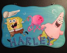 Sponge Bob Name plaque by:https://www.facebook.com/InspiredCreationsByLee