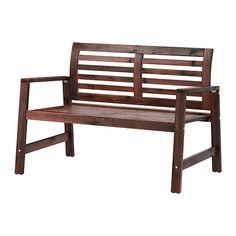 IKEA - ÄPPLARÖ, Banco c/encosto, exterior, velatura castanha, , Encosto recurvado para um maior conforto ao sentar.