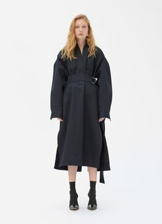 Belted dress in cotton and wool satin | CÉLINE