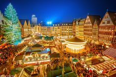 The huge #Christmas tree makes Frankfurt's festive #market one of the most beautiful in the world. The 30-metre feature also hosts several entertainment events throughout the holiday - including carol singing