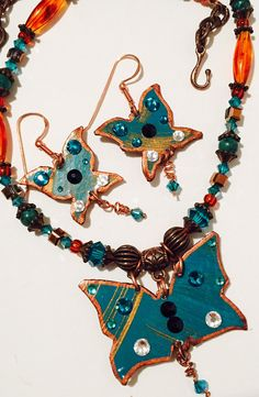 Butterfly in Dark Turquoise and Copper with by MartinArtandBeads