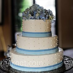 our cake is going to be 2 tier with blue ribbon on bottom of layers and a scroll wave in white icing and blue hydrangeas on top... I cant wait !