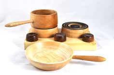 Turned wooden toy cooking set
