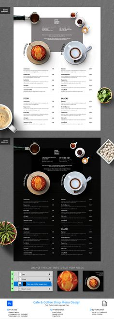 Ready to Use Coffee Shop & Cafe Menu Design. This Photoshop file set on: x inch + Bleed. ready to print and well organized in layers. The Fonts and Images & Artwork (if any) used in this design are Free to Use / Included if stated. Drink Menu Design, Cafe Menu Design, Coffee Shop Menu, Coffee Shop Design, Café Restaurant, Restaurant Menu Design, Menu Layout, Shop Layout, Drive Thru Coffee