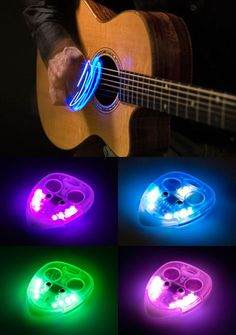 I would love this! too bad i like the sound of my fingers on the strings more than a pick- I think I would try harder though if I had a light up pick :)