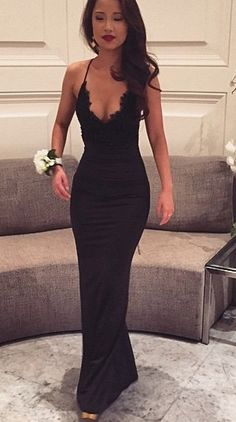 Black lacy sexy vneck gown. Prom or black tie event