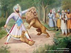 The sixth Guru - Guru Hargobind saheb ji jumped infront of a deranged lion to protect the Mughal Emperor Jahangir when they were in the forest. Emperor Jahangir was the son of Emperor Akbar. Guru Hargobind, Guru Nanak Ji, Guru Gobind Singh, True Faith, World Religions, Horse Riding, Worship, History, Legends