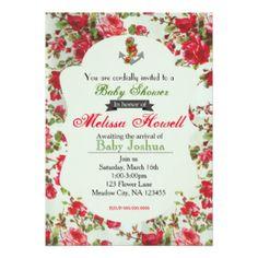 Chá de fraldas da flor do vintage ou convite do