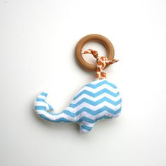 Whale Stuffed Animal on Organic Wood TEETHING ring - Organic Cotton Clutch Toy - Eco Friendly All Natural baby toy- Chevron Print