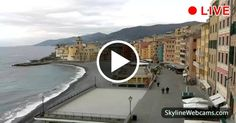 Wonderful view of the promenade and the Basilica of Santa Maria Assunta in #Camogli, #Italy. Live #webcam. #Travel #Liguria #Itali