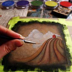 Neat painting technique! #homeschool art activity, art lesson idea