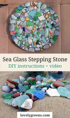 How to make a sea glass stepping stone #gardendiy #glassart #gardenstone #gardenpath #yardidea