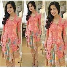 45 New Ideas for dress brokat modern indonesia Kebaya Pink, Vera Kebaya, Kebaya Lace, Batik Kebaya, Kebaya Dress, Batik Dress, Kimono, Kebaya Muslim, Traditional Fashion