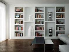 Libreria cartongesso idee Living Room Modern, Home Living Room, Living Room Decor, Salas Home Theater, Home Interior, Interior Design, Muebles Living, Separating Rooms, Bookshelf Design
