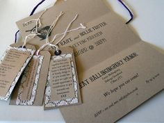 Rustic shabby chic wedding stationery with brown card, lace and luggage tags