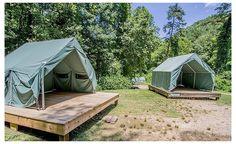 Camping Ideas, Diy Camping, Tent Camping, Glamping, Camping Site, Campsite, Tent Platform, Lakeside Resort, Tent Living