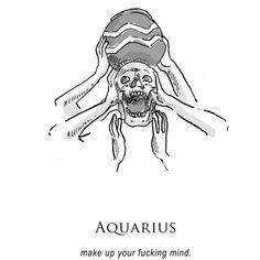 illustration and inanity by amrit brar — - shitty horoscopes book v:... via Polyvore featuring words