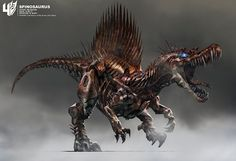 Check out Transformers: Age of Extinction concept art by Wesley Burt ! Transformers 4 features some new Transformers and the stars a. Power Rangers, Robot Animal, Transformers Movie, Transformers Cybertron, Transformers Collection, Robot Concept Art, Spinosaurus, Dinosaur Art, Prehistoric