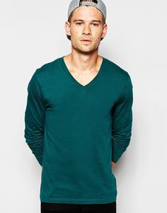 ASOS Long Sleeve T-Shirt In Green With V Neck